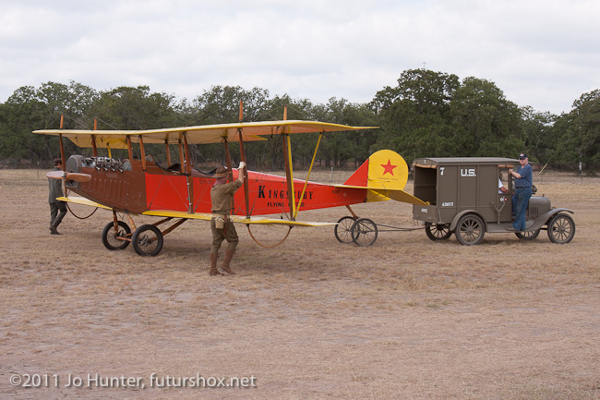 Curtiss Canuck being towed by a Model T