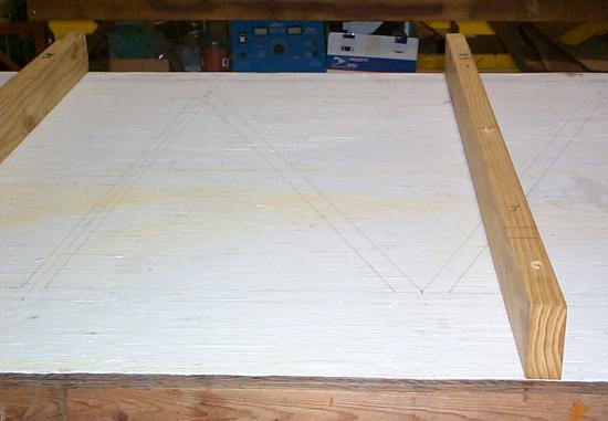 Jig table with Bristol fuselage structure drawn on it