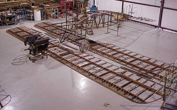Bristol parts laid out on hangar floor