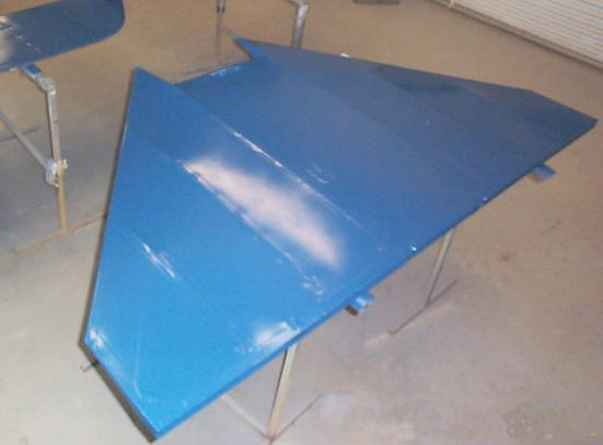 Fokker horizontal tail finished in blue