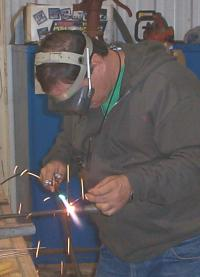 Welding the control stick top
