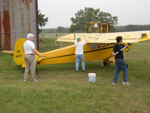 Washing the Piper Cub