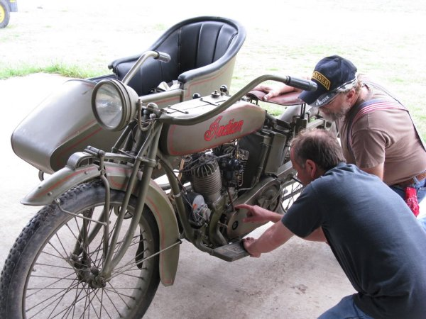 Working on 1918 Indian motorcycle