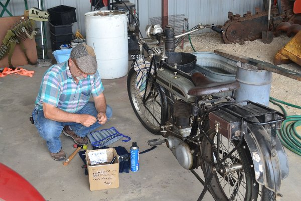 Repairing the Triumph motorcycle