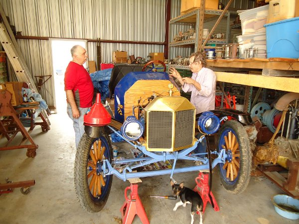 Working on the blue Model T Speedster
