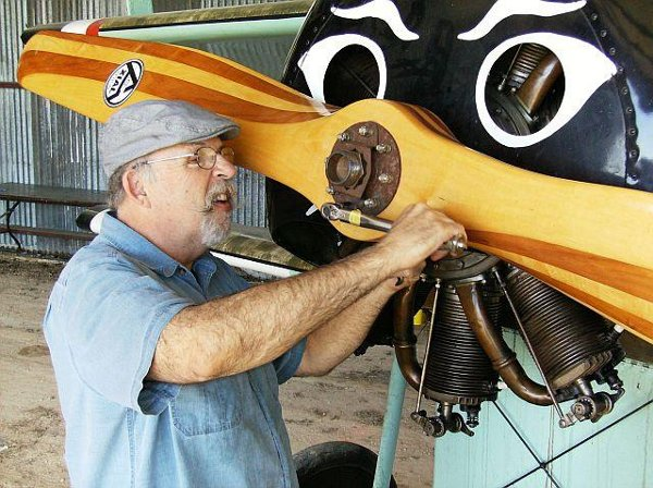 Torquing the prop bolts on the Fokker Dr.I triplane
