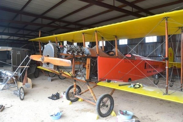 Curtiss Canuck opened up for engine work