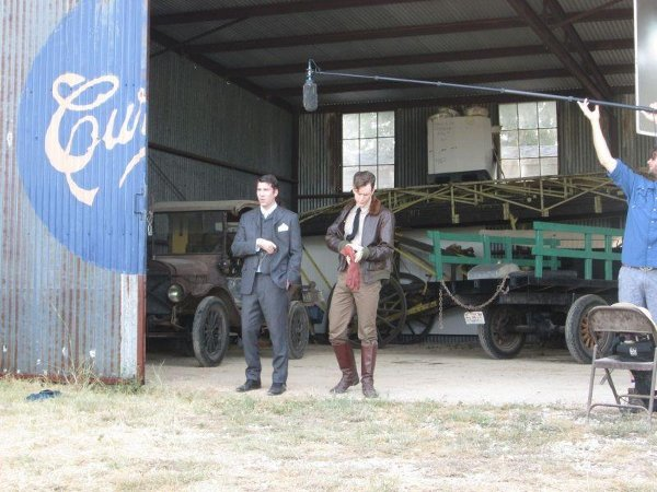 Filming in the old hangar